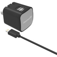DIGIPOWER IS-AC2DL InstaSense(TM) 2.4-Amp Dual-USB Wall Charger with 5ft Lightning(R) Cable (R-DGPISAC2DL)
