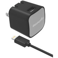 DIGIPOWER IS-AC2L InstaSense(TM) 2.4-Amp Single-Port USB Wall Charger with 5ft Lightning(R) Cable (R-DGPISAC2L)