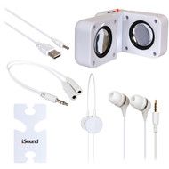 DREAMGEAR ISOUND-1615 5-in-1 Travel Sound Kit (White) (R-DRM1615)