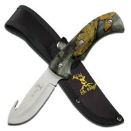 """Elk Ridge Fixed Blade Knife 8.75"""" Overall Forest Camo Coated Rubber Handle (R-ER274FC)"""