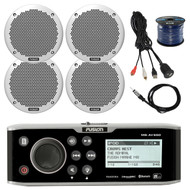 """Fusion CD Bluetooth Receiver, 4x 6"""" Speakers, 50Ft Wire, Antenna, Aux Mount (R-FUSMSAV650-BAYBOAT)"""