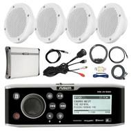 "Fusion CD Bluetooth Marine Receiver,4x 6.5"" Speakers, Amp + Kit , Antenna, Mount (R-FUSMSAV650-PONTOON)"