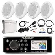 "Fusion DVD/CD Marine Stereo, 4x 6.5"" Speakers, Amp & Kit, Antenna, Aux Mount (R-FUSMSAV750-PONTOON)"