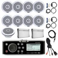 "Bluetooth Marine Receiver,8x 7"" Speakers, 2x Amps, Sub,Antenna,Remote, Aux Mount (R-FUSMSUD650-BOAT)"