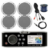 "Fusion Marine Stereo System , 4x 6"" Speakers, 50Ft Wire, Antenna, Aux Mount (R-FUSMSUD750-BAYBOAT)"