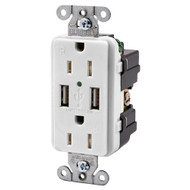 Hubbell USB15X2W 15AMP Outlet Dual USB Charging Ports White (R-HUBUSB15X2W)