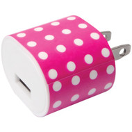 IESSENTIALS IE-AC1USB-PPD 1-Amp USB Wall Charger (Pink Polka Dot) (R-IEAC1USBPPD)