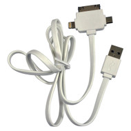 Istuff Usb Male To Lightning 8 Pin + 30 Pin + Micro Usb Cable (R-IFU3IN1WH3)