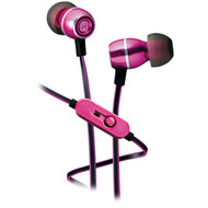 IHOME iB18P Noise-Isolating Metal Earbuds with Microphone (Pink) (R-IHMIB18P)