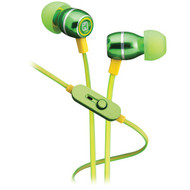 IHOME iB18QY Noise-Isolating Metal Earbuds with Microphone (Lemon-Lime) (R-IHMIB18QY)