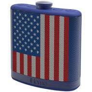 IHOME iBT12AMFLXC Rechargeable Flask-Shaped Bluetooth(R) Stereo Speaker with Custom Sound Case (Flag) (R-IHMIBT12AMFLXC)