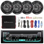 """JVC CD USB Car Car Stereo,1000W 4CH Amplifier Set, 6.5"""" Full Range 3Way Speakers (R-KDR680S-2CS653-EAKIT8G-PX-1000.4)"""