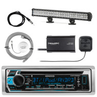 Kenwood Marine Bluetooth CD AM/FM Receiver, SiriusXM Tuner, Antenna, Light Bar (R-KMRD368BT-1-SHASRA50B-LED24)