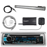 Kenwood Bluetooth CD AM/FM Marine Receiver, SiriusXM Tuner,Light Bar, 2x Antenna (R-KMRD368BT-1-SHASRA50B-LED36)