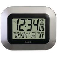 LA CROSSE TECHNOLOGY WS-8115U-S Atomic Digital Wall Clock with Indoor/Outdoor Temperature (R-LCRWS8115US)