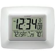 LA CROSSE TECHNOLOGY WS-8119U-IT-W Atomic Digital Clock with Indoor/Outdoor Temperature (White) (R-LCRWS8119UITW)