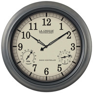 """LA CROSSE TECHNOLOGY WT-3181P Indoor/Outdoor 18"""" Atomic Wall Clock with Thermometer Hygrometer (R-LCRWT3181P)"""