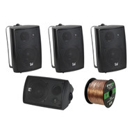 4x New Pyle 3.5'' 200 Watt 3-Way Marine Speaker (Black), Enrock 16G 50 Ft Wire (R-LU-43B-EB16G50FT-CCA)