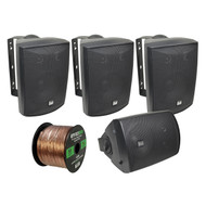 4x Dual 125 Watt Indoor/Outdoor Speakers (Black), 16-G 50 Ft Speaker Wire (R-LU53B-EB16G50FT-CCA)