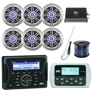 "Marine Bluetooth Receiver, 6x 6.5"" Speaker, Amp, Remote, Antenna, 50FT 16G Wire (R-MA400-6-SPK652BSL)"