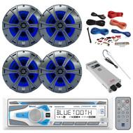"Bluetooth Receiver, 4X 6.5"" Speakers w/ LED, Amp, Amp Install Kit, Antenna (R-MCD237BT-BAYBOAT)"
