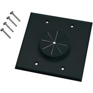 MIDLITE 2GBK-GR2 Double-Gang Wireport(TM) Wall Plate with Grommet (Black) (R-MDT2GBKGR2)