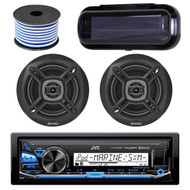 """JVC KD-X35MBS In-Dash Marine Boat Bluetooth Radio USB Receiver Bundle Combo With Pair Of Enrock EKMR1672 6.5"""" Black Dual-Cone Stereo Speakers + Stereo Waterproof Cover + 18g 50FT Marine Speaker Wire"""