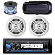 """JVC KD-X35MBS In-Dash Marine Boat Bluetooth Radio USB Receiver Bundle Combo With Pair Of White Enrock EKMR1672W 6.5"""" Dual-Cone Stereo Speakers + Stereo Waterproof Cover + 18g 50FT Marine Speaker Wire"""