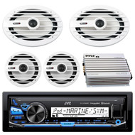 "JVC KDX35MBS Marine Boat Yacht CD Player Stereo Receiver Bundle Combo With 2x MB-Quart NKF116 6.5"" Inch 200-Watt Coaxial Speakers + 2x NKF692 6x9"" 260W White Speakers + 400-Watt 4-Channel Amplifier"