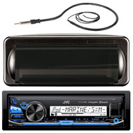 """JVC KDX35MBS MP3/USB/AUX Marine Boat Yacht Stereo Receiver Player Bundle Combo With Jensen Marine MRH211B Black Water Resistant Housing + Enrock EKMR1 Water Resistant 22"""" Inch Radio Antenna"""