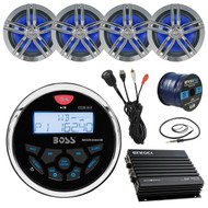 "CD Bluetooth Receiver,4x 6.5"" Speakers, Amp,50ft Wire,Antenna, USB Aux Interface (R-MGR350B-BAYBOAT)"