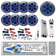 "Bluetooth Receiver, 8x 8"" Speaker, 10"" Sub, 2x Amp, 2x Amp Install Kit, Antenna (R-MXD337BT-BOAT)"