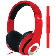 NAXA NE-943 RED BACKSPIN Pro Headphones with Microphone (Red) (R-NAXE943RED)