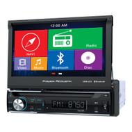 "Power Acoustik Single Din AM/FM/DVD/BT flip out 7"" with Navigation (R-PDN726B)"