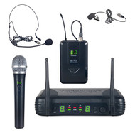 UHF Wireless Microphone System Kit, Includes Handheld Mic, Headset Mic, Lavalier Mic & Beltpack (R-PDWM3378)