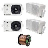 4 x Pyle 3.5'' 200 Watt 3-WayMarineSpeakers (White),  16-G 50 Ft Speaker Wire (R-PLMR24-EB16G50FT-CCA)