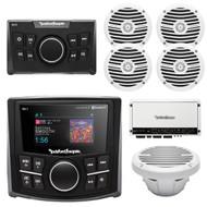 "Rockford Fosgate Bluetooth MP3 Marine Receiver,Remote,4x 6.5"" Speakers, Amp, Sub (R-PMX2-4W1S)"