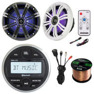 """JBL Digital Receiver Bluetooth, 2x 6.5"""" Boat Speakers,Controller,Interface,Wire (R-PRV-175-1-43KM654LCW)"""