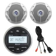 "JBL AM/FM/USB/Bluetooth Gauge Style Stereo, 4X 6"" Marine Speakers, USB/AUX Mount (R-PRV175-2JBLMS6520-USBAUX2RC)"