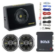 """Kicker 10"""" Car Subwoofer + Box, Enrock 18-G 50 Ft Wire, 6.5"""" Speakers, Boss Amp (R-RB-40TCWS104-EAKIT8G-40CS654-R1100M)"""