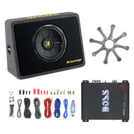"""Kicker 10"""" Car Subwoofer + Box, w/ 18-G 50 Ft Wire, Boss Amp, Round Sub Grill (R-RB-40TCWS104-EAKIT8G-R1100M-GR100)"""
