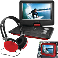 "EMATIC EPD116RD 10"" Portable DVD Player with Headphones & Car-Headrest Mount (Red) (R-SHAGEPD116RD)"