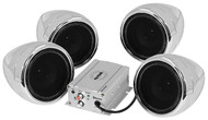 "Soundstorm Motorcycle System 3"" Chrome Speakers 1000W Max Bluetooth Aux Input (R-SMC95BC)"