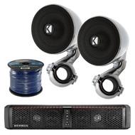 Hifonics 6-Speaker Bluetooth Soundbar, 2X Kicker Marine Mini Speakers, 50Ft Wire (R-TPS6-1-40PSM34)