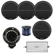"Hifonics Bluetooth Controller, 4x 2-Way 6.5"" 250W Marine Speakers, 4-Ch Amp,Wire (R-TPS-BT1-2-EM602B)"