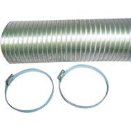 """DEFLECTO A048MX/9 Semi-Rigid Flexible Aluminum Duct (4"""" x 8ft; With 2 metal worm drive clamps) (R-VENA04825MX)"""