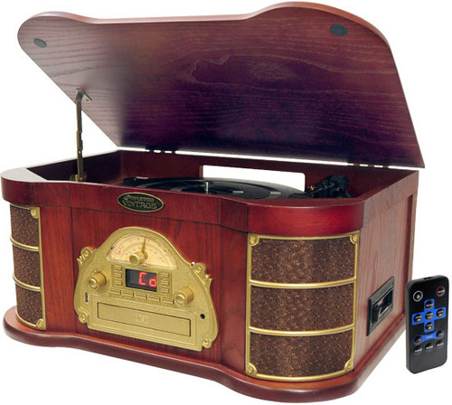 PyleHome PTCDS1U Classical Turntable with AM FM Radio CD/Cassette & USB Recording