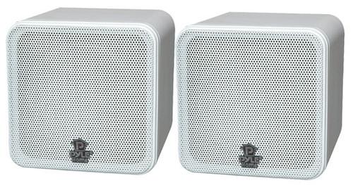 Pair Pyle PCB4WT 4'' 200 Watt White Mini Cube Bookshelf Speaker In White