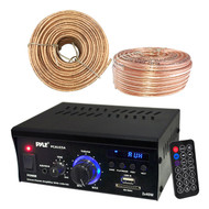 Pyle Amplifier Receiver w/ USB/SD AUX CD & LED Display, 18 AWG 100 Feet Wire (R-PCAU25A-100FT)