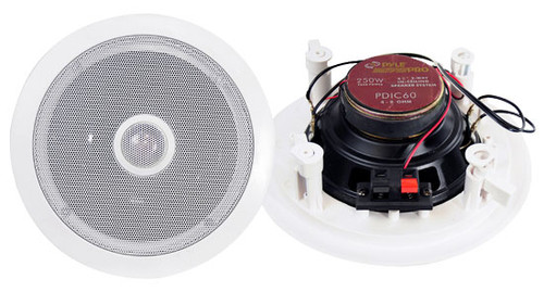 Pair Pyle PDIC60 250 Watt 6.5'' Two-Way In-Ceiling Speaker System